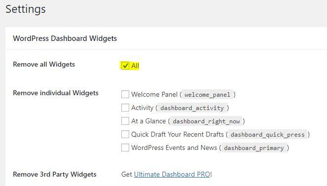 remove WordPress dashboard widgets