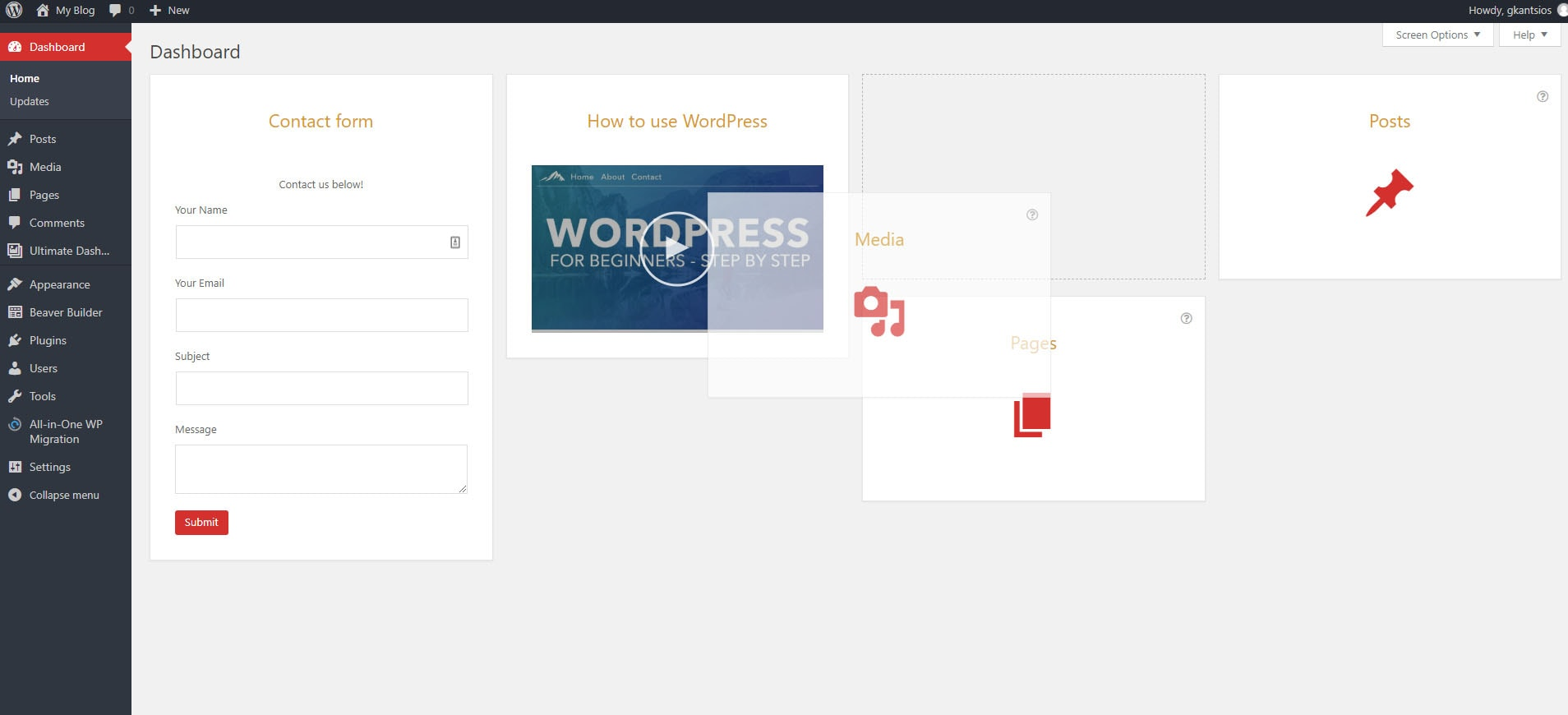 Organize WordPress dashboard widgets