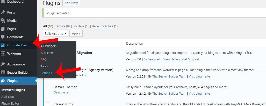 Ultimate Dashboard settings for WordPress